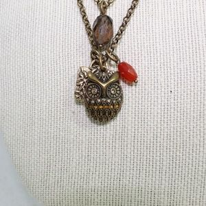 Lucky Brand Bronze Owl Charm Necklace